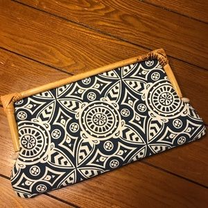 Donna Dixon Beautiful Navy and Bamboo Clutch
